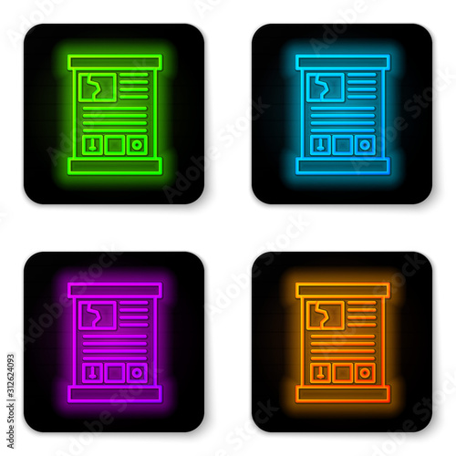 Glowing neon line Game guide icon isolated on white background Canvas Print