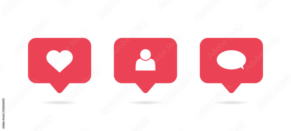 Fototapeta Social media notification icon. Follow, comment, like icon. Vector illustration