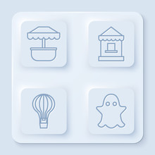 Set Line Attraction Carousel, Ticket Box Office, Hot Air Balloon And Ghost. White Square Button. Vector