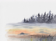 Watercolor Painting With Misty...
