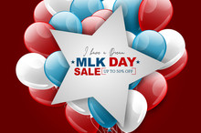 Martin Luther King Jr. Day Design. Stars Over USA Flag Colors Balloons. Vector Illustration.