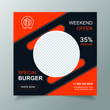 Promotion Food Banner Post Design Template