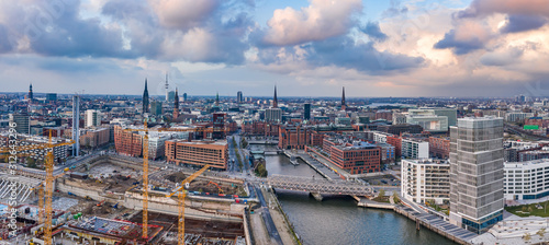 Aerial drone panoramic view of port of Hamburg from above before sunset with ...
