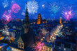 Leinwanddruck Bild - Fireworks display over the old town in Gdansk, Poland
