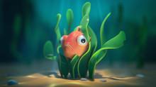 Goldfish Hiding Underwater In ...