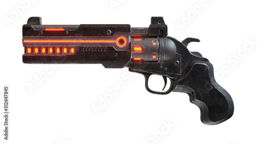 Fototapeta 3d illustration of sci-fi futuristic weapon isolated on white background. Science fiction military laser gun. Concept design of high-tech cyberpunk luminous firearm with black color scratched metal obraz