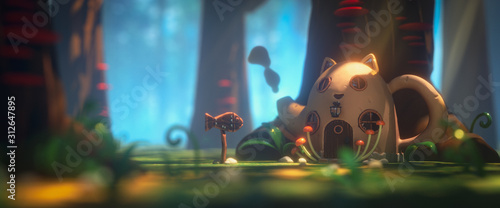 Fototapeta Fairy teapot cat house in magic forest with rays of sunlight. Landscape with mushrooms on trees and path in the forest to a cartoon house with a wooden fish sign. 3d illustration of the game location obraz