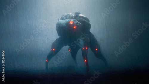 Digital illustration of cyberpunk scary monster spider standing in the night scene with rain Fototapet