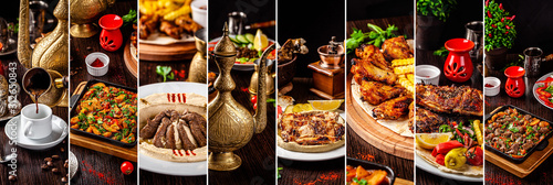 Set of photographs of Arabic and Oriental cuisine Canvas Print