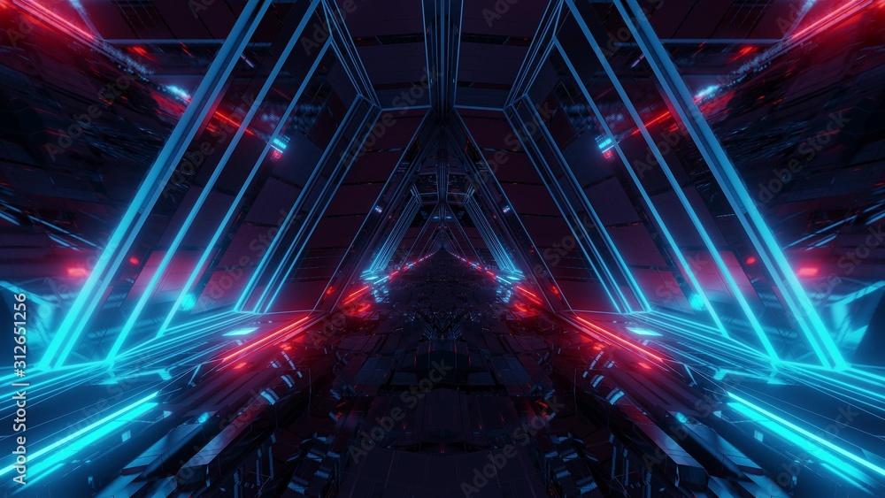 Fototapeta futuristic sci-fi space war ship hangar tunnel corridor with reflective glass windows 3d illustration background wallpaper