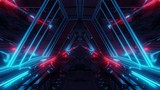 Fototapeta Do przedpokoju - futuristic sci-fi space war ship hangar tunnel corridor with reflective glass windows 3d illustration background wallpaper