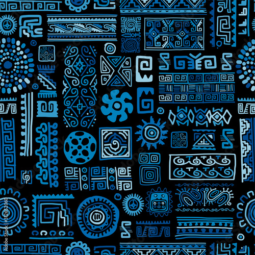 Fotomurales - Ethnic blue handmade ornament, seamless pattern