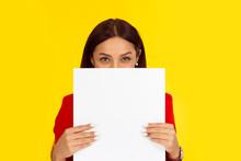 Woman Holding A Board Paper Hi...