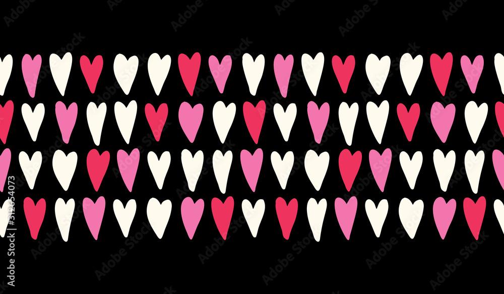 Walentynki wektor wzór bezszwowe poziome obramowanie z ręcznie rysowane różowy i czytać serca na czarnym tle