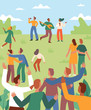 Vector illustration in flat cartoon simple style with characters - open air music summer festival - happy people dancing and band performing in the park