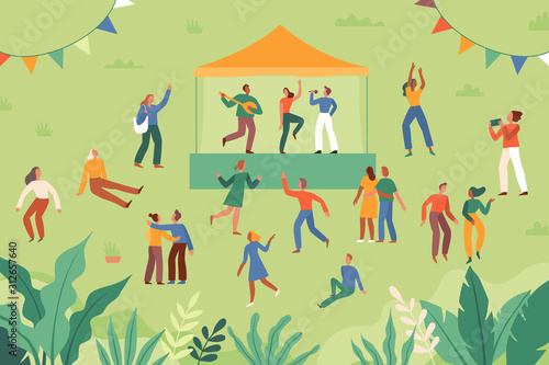 Stampa su Tela Vector illustration in flat cartoon simple style with characters - open air musi