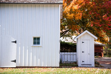 White Barn And Outhouse In Ill...
