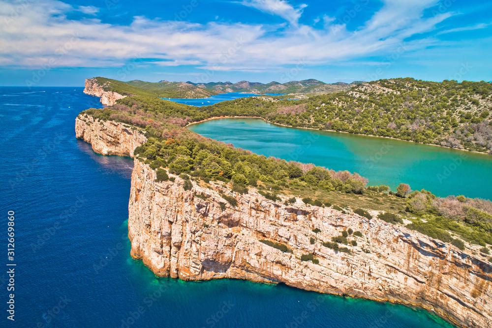 Fototapeta Telascica nature park and green Mir lake on Dugi Otok island aerial view