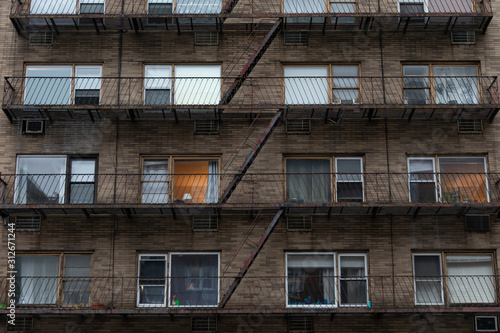 Fire Escape on a Brick Building in Chelsea New York Wallpaper Mural