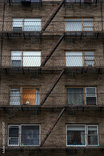 Photo  Fire Escape on a Brick Building in Chelsea New York