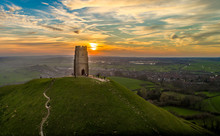 Sunset At Glastonbury Tor