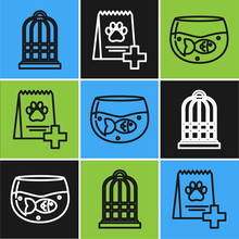 Set Line Cage For Birds, Aquarium With Fish And Bag Of Food For Dog Icon. Vector