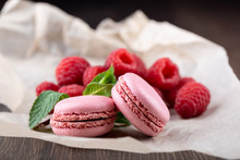 Pink Macaroons With Raspberrie...