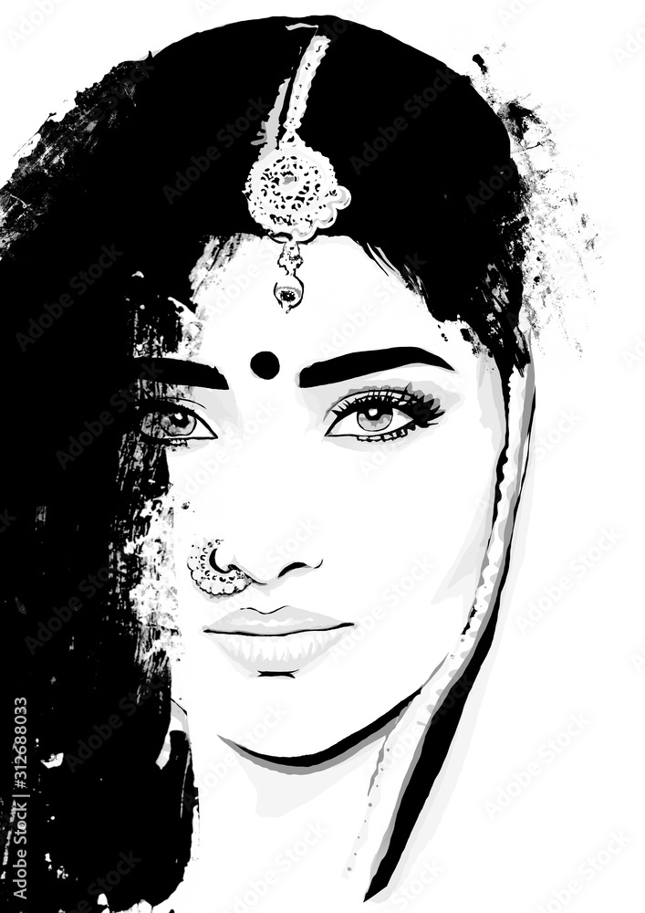Indian woman face. Portrait girl from india. Hindu
