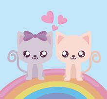 Cute Cats Cartoons And Rainbow Vector Design