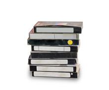 Stack Of Old Video Cassette On...