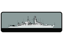Royal Navy. Type 21 Amazon-class Frigate. Side View. Vector Template For Illustration.