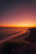 El Pescador State Beach At Sunset, In Malibu, California