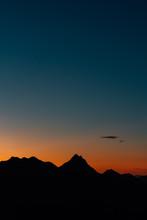 Silhouette Ridges At Sunset, From Malibu Canyon Overlook In Malibu, California