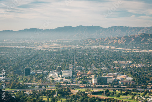 View of Burbank from Mount Lee in Griffith Park, Los Angeles, California Fototapet