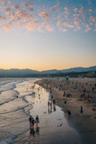 View of the beach at sunset, in Santa Monica, Los Angeles, California