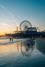 The Santa Monica Pier At Sunse...