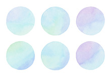 Turquoise Purple Green Blue Pastel Hand-painted Watercolor Circle Isolated Design Element Set