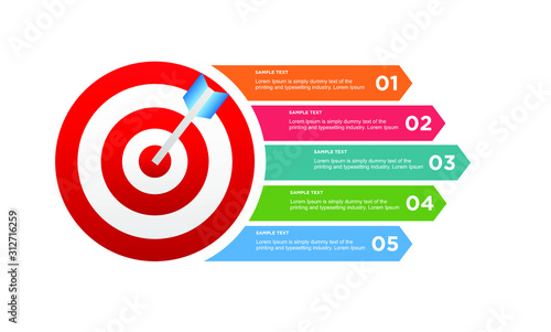 Cuadros en Lienzo infographic target with 5 step element