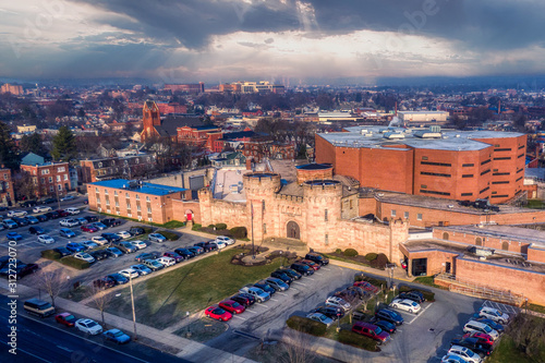 Correction facility aerial revealing shot, Lancaster County Jail in Pennsylvania, aerial view © asafaric