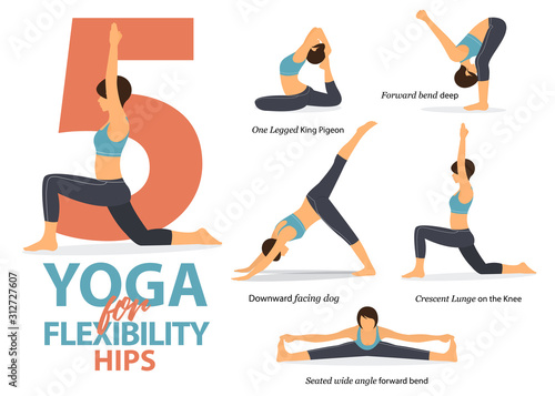 Fototapeta Infographic of 5 Yoga poses for hip flexibility in flat design. Beauty woman is doing exercise for body stretching. Set of yoga sequence Infographic.  Vector Illustration. obraz