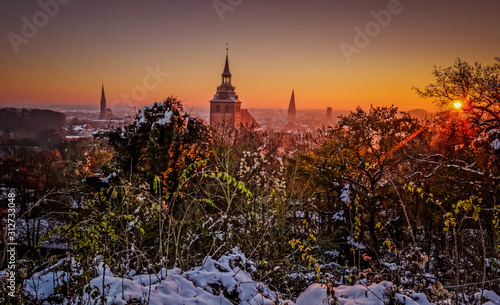 Ausblick vom Lüneburger Kalkberg an einem Wintermorgen Fototapet