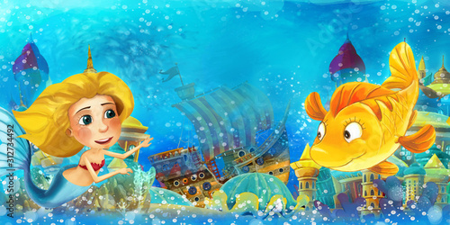 Cartoon ocean and the mermaid in underwater kingdom swimming and having fun - il Wallpaper Mural