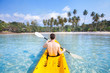 canvas print picture - kayaking on tropical beach, travel to Asia, summer holidays, tourist paddling on kayak in turquoise sea water