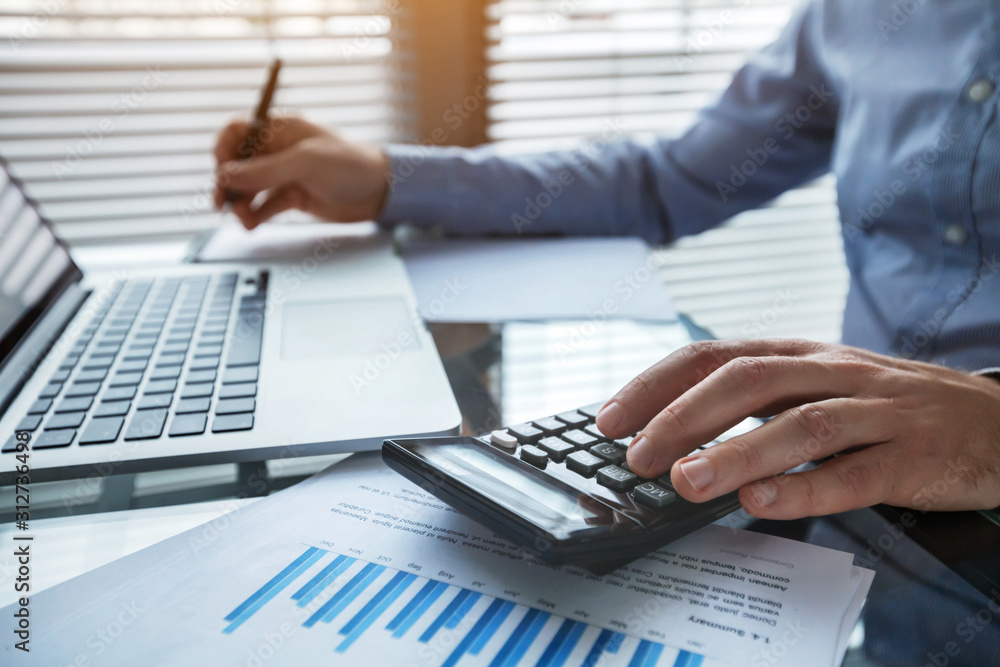 Fototapeta finance and investment, accounting, calculating taxes, corporate financial report of company