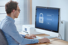 User Typing Password, Security And Privacy Protection Concept, Confidentiality.