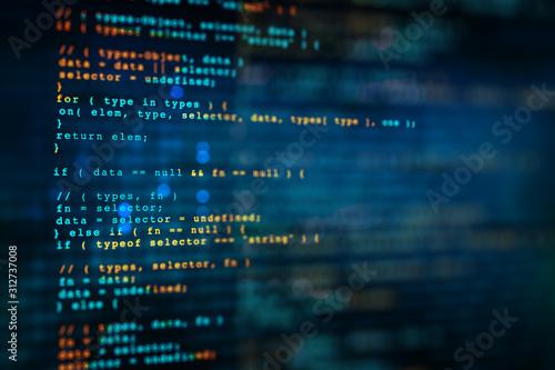 Fotografía Programming code background, software coding developing, abstract computer script