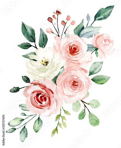 Fototapety, obrazy: Pink flowers watercolor, floral clip art. Bouquet blush roses perfectly for printing design on invitations, cards, wall art and other. Isolated on white background. Hand painting.