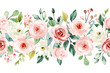 Leinwanddruck Bild - Watercolor flowers, pink, white roses. Floral summer repeat border for printing invitations, greeting cards, wall art, stickers and other. Isolated on white. Hand painted.