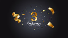 3rd Anniversary Celebration Gold Numbers With Dotted Halftone, Shadow And Sparkling Confetti. Modern Elegant Design With Black Background. For Wedding Party Event Decoration. Editable Vector EPS 10