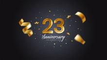 23rd Anniversary Celebration Gold Numbers With Dotted Halftone, Shadow And Sparkling Confetti. Modern Elegant Design With Black Background. For Wedding Party Event Decoration. Editable Vector EPS 10